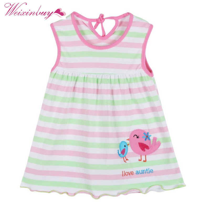 Random Color Dress for Girl Summer Baby leeveless Printed A-Line Mini Dresses Cute Infant Baby Girls Dress vestidos 1-2Y