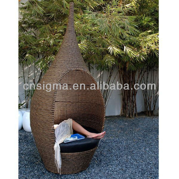 Woven Outdoor Chair White Styling With Headrest New Design Bali Bed Wicker Pod Lounge In