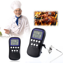 LCD Digital Oven Thermometer Timer Temperature Sensor Probe BBQ Meat Thermometer for Oven Kitchen Cooking Tools(China)