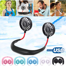 1PCs Portable Fans Hand Free Neckband With USB Rechargeable 1200mA Battery Operated Dual Wind Head 3 Speed Adjustable Fan