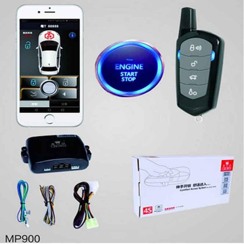 PKE Smartphone À Distance Système D'entrée Sans Clé De Voiture Starline Système Moteur À Distance Verrouillage Central LED Alarme De Voiture Start Stop Bouton