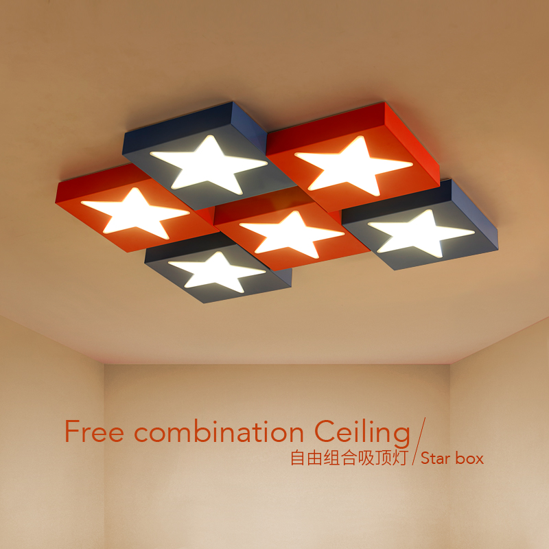 Children lamp LED ceiling lights Children's room cartoon creative personality bedroom boy eye star red blue ceiing lamp 1PC ZA creative cartoon padfoot shape ceiling lamp smd led electrodeless dimmable light study children boy girl room bedroom