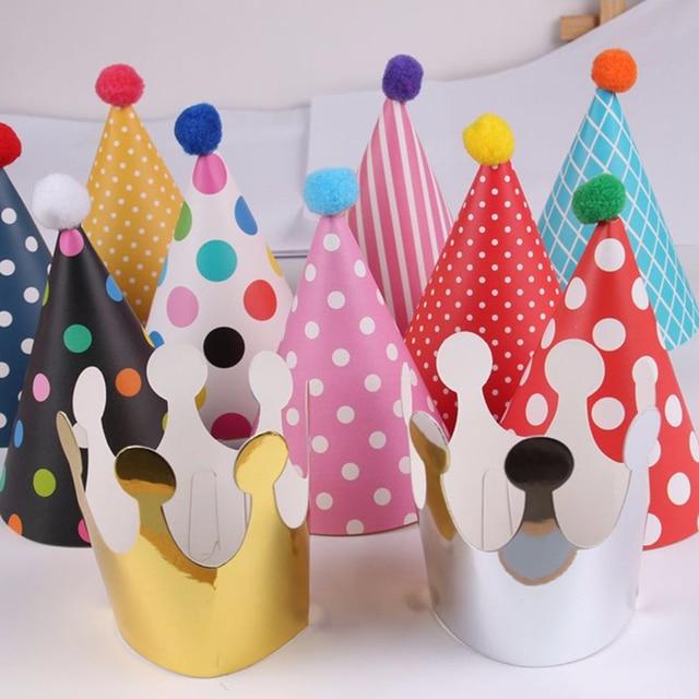 213da14a8c0e7 11pcs/set DIY Polka Dot Striped Party Hats Kids Birthday Decoration Cute  Paper Cap Crown