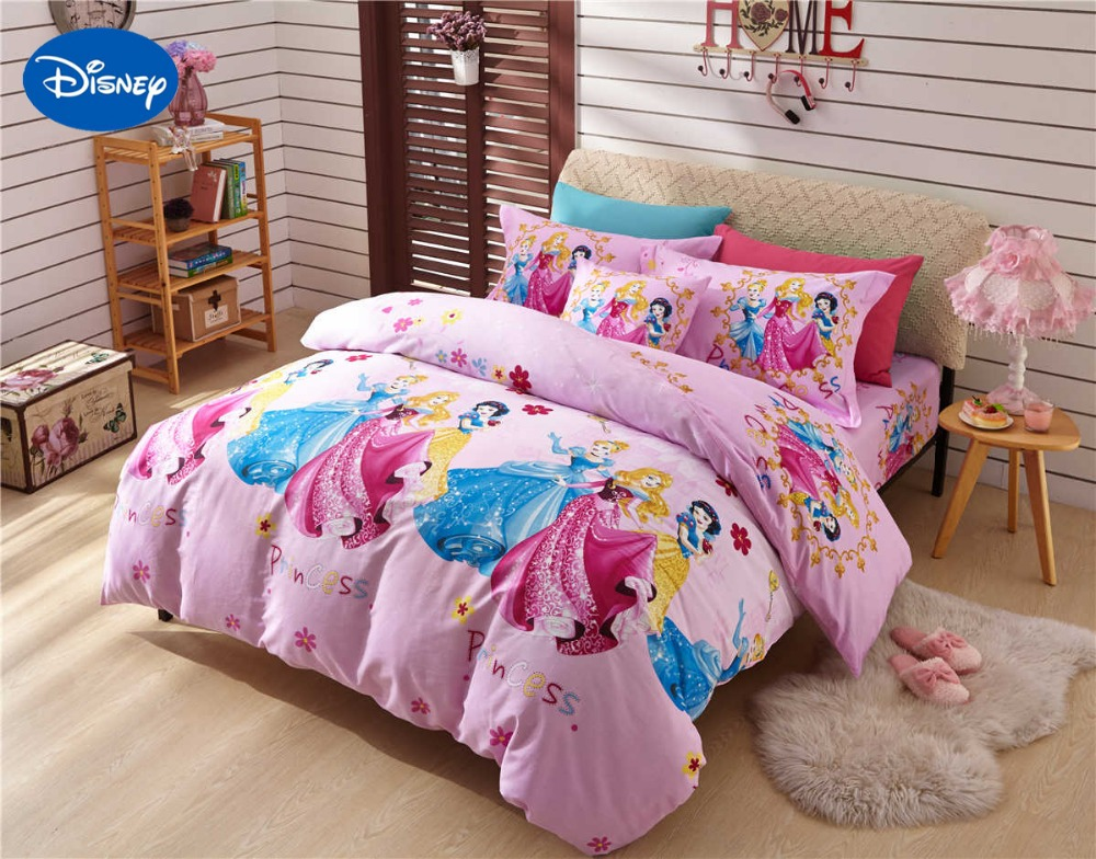 Pink princess printed comforter bedding set twin full for Bedding fabric bedding