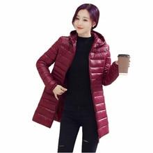 Женщины Тонкий тонкий Хлопок пальто 2016 осень и зима Средней Длины Плюс размер С Капюшоном женская Куртка Хлопка