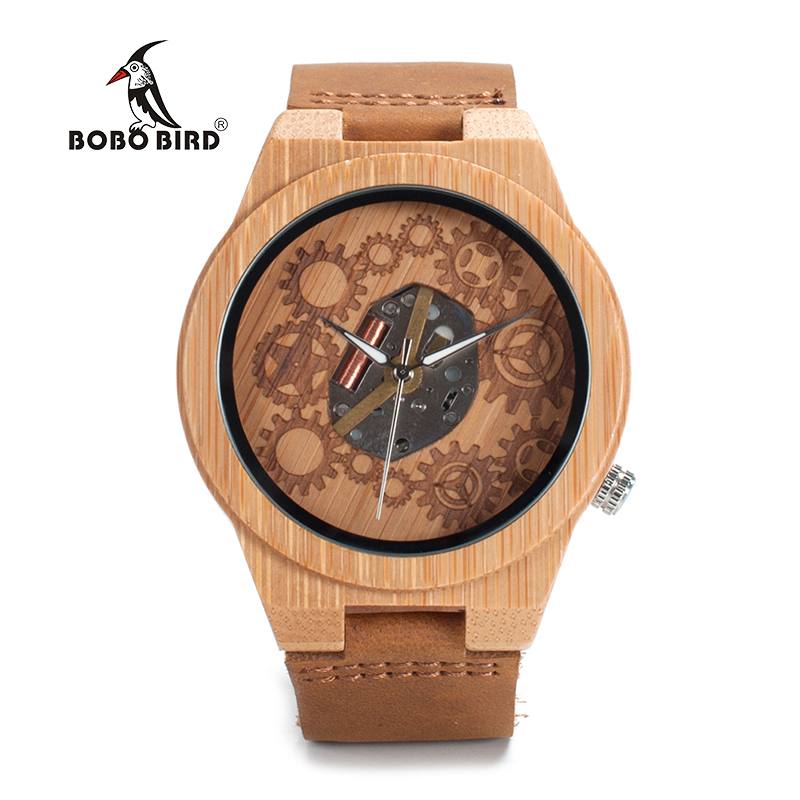 BOBO BIRD LB09 Wooden Watches for Men Gearwheel Dial Japan Movement Quartz Luxury Male Bamboo Watches OEM bobo bird brand new sun glasses men square wood oversized zebra wood sunglasses women with wooden box oculos 2017