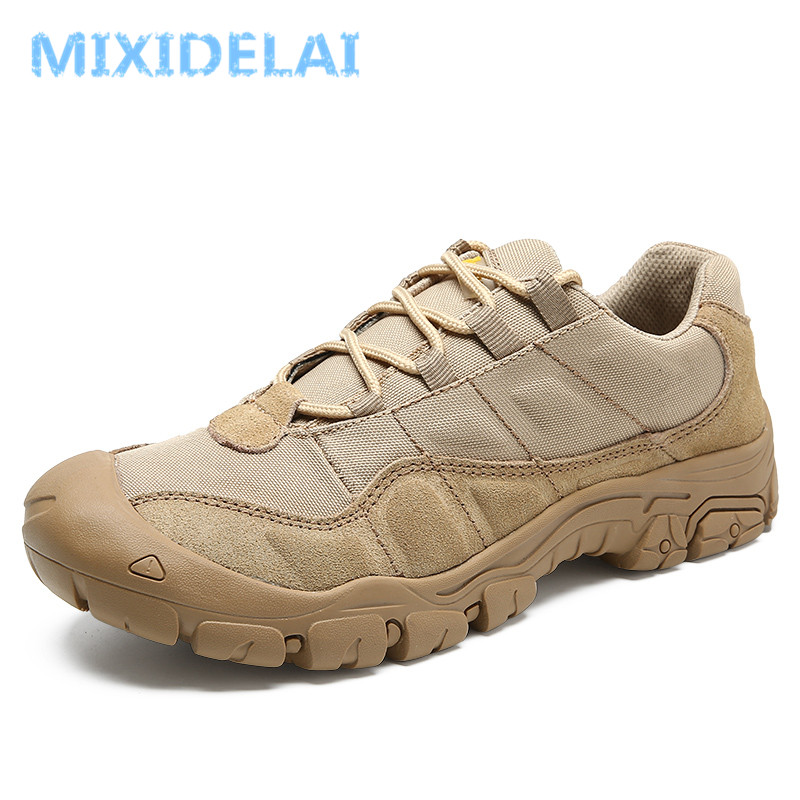 MIXIDELAI Cow Suede Leather Outdoor Male Sneakers Shoes For Men Adult Non-Slip Casual Military Army Autumn Patchwork Footwear