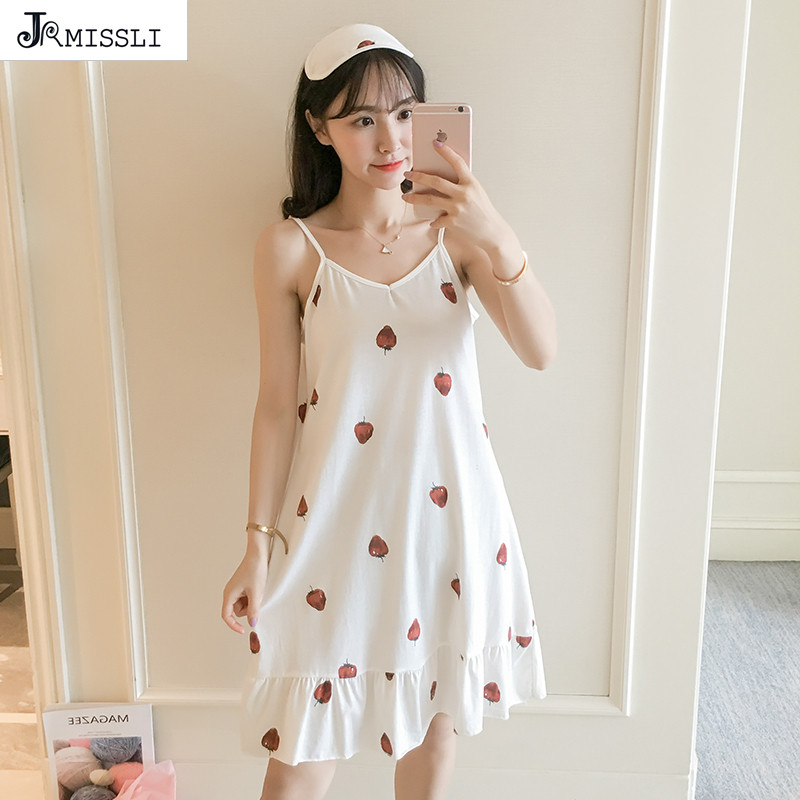JRMISSLI New Cotton   Nightgown   Women Sweet Girl Lounge Cute Nightdress Sleepwear Summer Home Dress Casual Nightwear   Sleepshirts