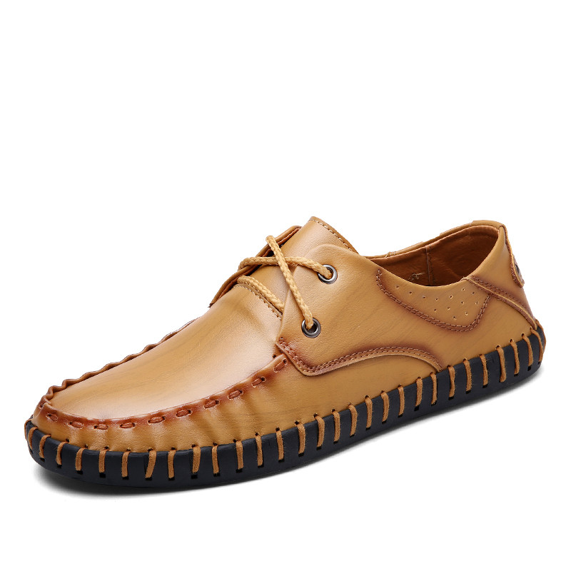 Slip On Casual Main Belle Chaussures Confortable Up Lace yellow yellow On brown On Black Respirant black Hommes Up Cuir En Mocassins qXZdFawZ