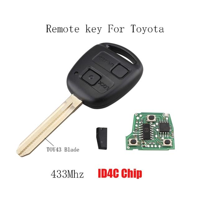 2 Ons 433mhz Remote Key Keyless Fob For Toyota Camry Prado Corolla 2003 2009 Transponder Chip 4c Original
