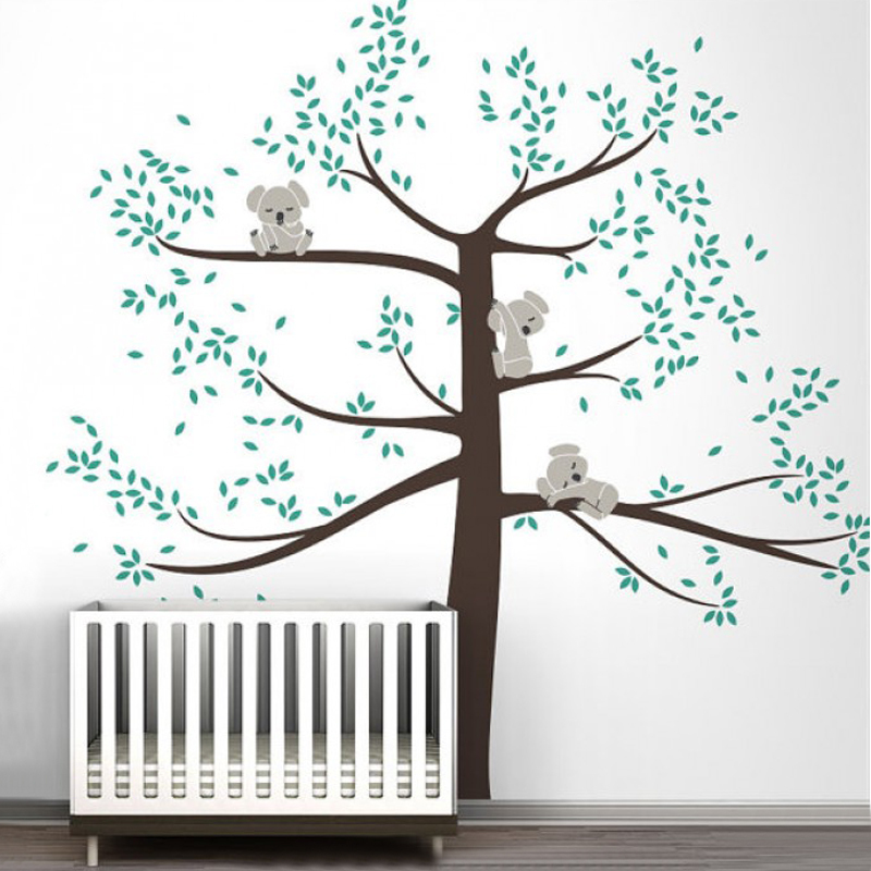 Cute Koala Baby on Tree Vinyl Wall Sticker Nursery Art
