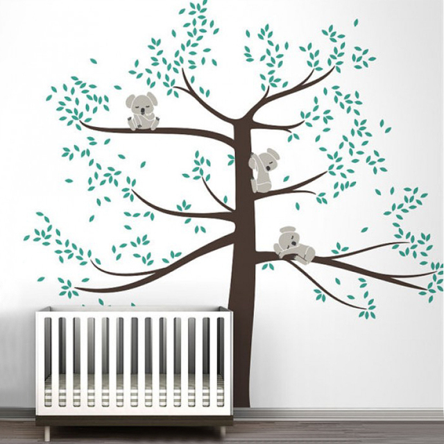 Large koala family on tree branch vinyl wall sticker nursery art removable mural stickers for baby