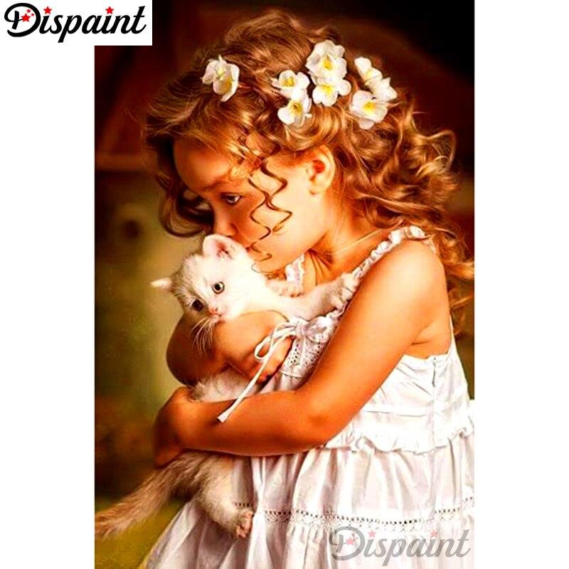 """Dipaint полная квадратная/круглая дрель 5D DIY Алмазная картина """"Маленькая девочка кошка"""" вышивка крестиком 3D домашний декор A10439"""