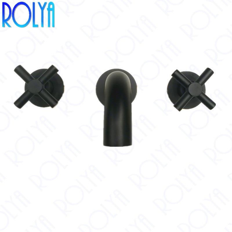 ROLYA Cross Dual Handles In Wall Mounted Basin Faucet Matte Black Bathroom Sink Mixer Taps Solid