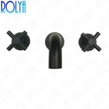 ROLYA Cross Dual Handles In Wall Mounted Basin Faucet Matte Black Bathroom Sink Mixer Taps Solid Brass 5 Years Warranty