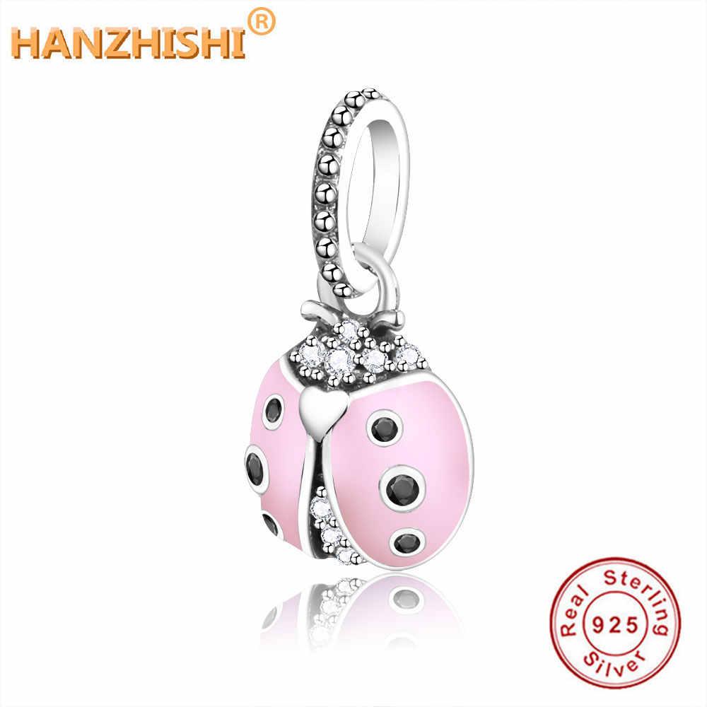 2019 ฤดูร้อน 925 เงินสเตอร์ลิง Lucky Pink Ladybird ลูกปัดจี้ Fit Pandora Charm Beacelet สำหรับผู้หญิง DIY เครื่องประดับของขวัญ