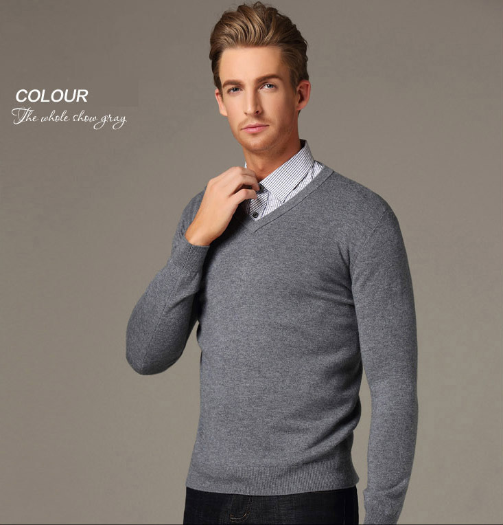 Online Shop Men Pullover Large Size 2XL V-Neck Brand Business Mens ...