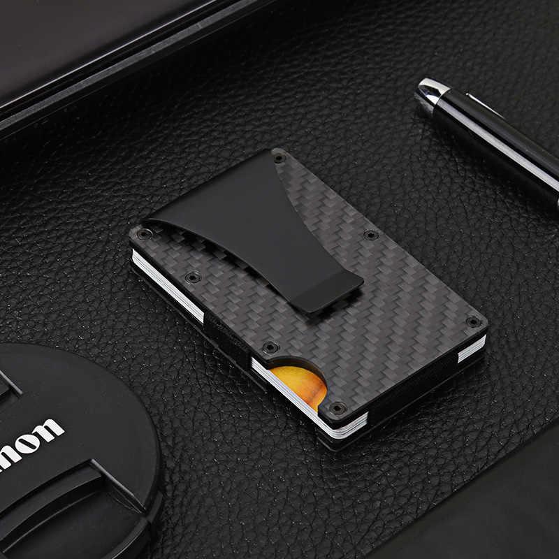 DIENQI fibra de carbono titular de la tarjeta de crédito cartera minimalista aluminio Metal Anti RFID bloqueo banco de negocios id titular de la tarjeta para hombres