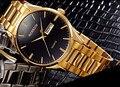 Los hombres de Lujo de Oro Visten Los Relojes de Moda de Acero Completo Calendario de Negocios Reloj de Pulsera de Cuarzo Analógico Reloj Relojes NW4227 Saphir