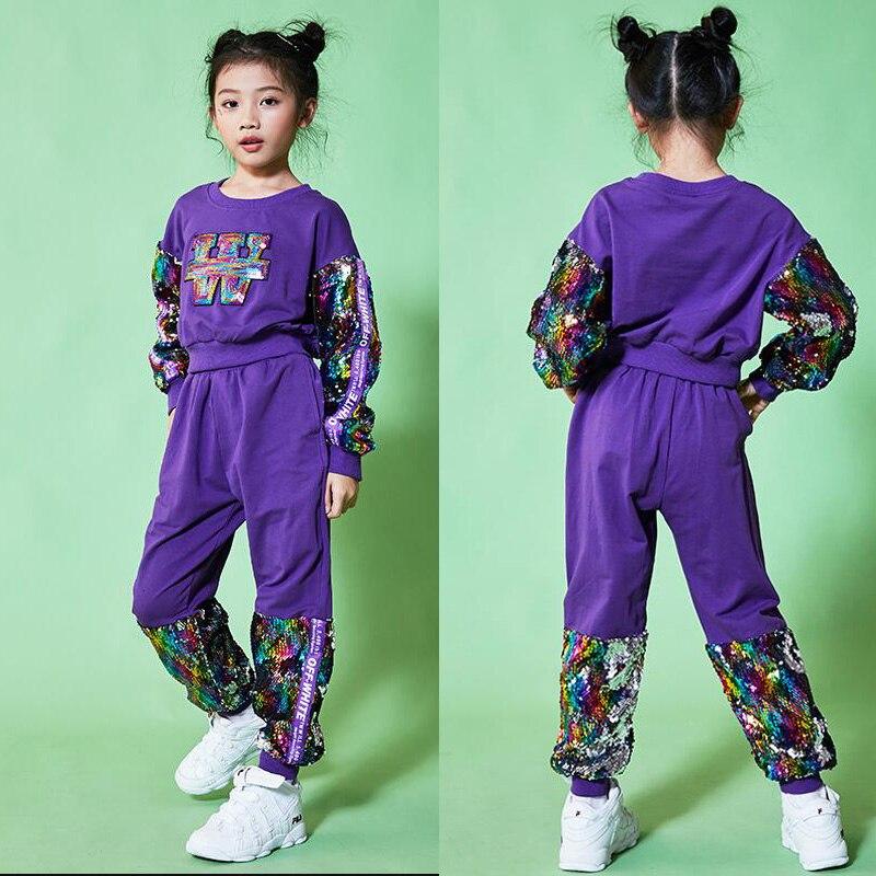 Filles paillettes moderne Jazz danse Costume ensemble haut pour enfants + pantalon vêtements Hip Hop scène porter des vêtements de danse scène porter des tenues