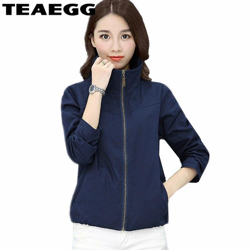 TEAEGG 100% Cotton Bomber Jacket Women 2017 Autumn Casaco Feminino Navy Women Jackets Plus Size 4XL Outwear Womans Coat AL08
