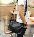 2016 dos homens de lazer ombro único saco do mensageiro saco corpo cruz bolsa pequena bolsa de viagem ocasional preto PU de couro, frete grátis
