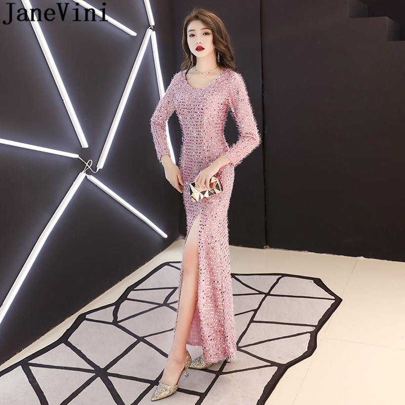 JaneVini Side Split Long Sleeve   Prom     Dress   Elegant Pink Long Ladies Casual Gowns Galajurken Lang V-Neck Sequins Party   Dresses