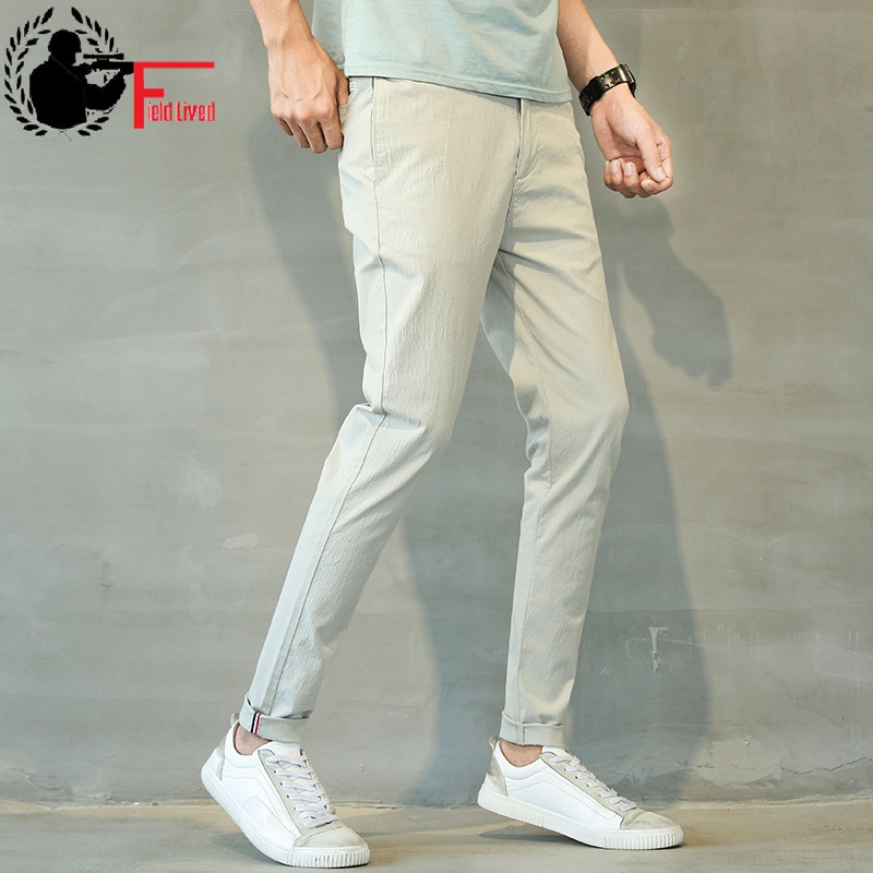 92bc9a9a307 Linen Pants Mens Lightweight Summer Slim Fit Stretch Men Clothes 2019 Korean  Street Style Fashion Casual Skinny Trousers Male 38
