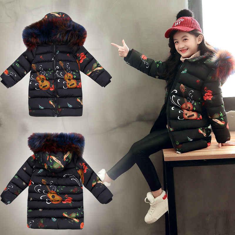 2019 소녀를위한 패션 아동 자켓 소녀를위한 십대 러시아어 겨울 코트 파카 모피 후드 겉옷 한국 아동 의류