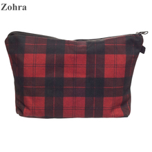Zohra Red Tartan 3D Printing Party Women Maleta de Maquiagem Cosmetics Bags Neceser Purse Organizer Necessaire Travel Makeup Bag