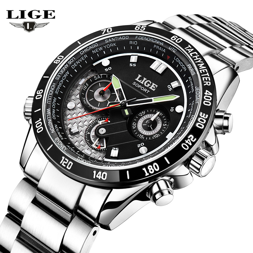Lige mens watches multifunction military sport luminous wristwatch stainless steel quartz watch for Lige watches