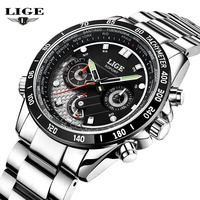 LIGE Mens Watches Multifunction Military Sport Luminous Wristwatch stainless steel Quartz Watch men Fashion relogio masculino