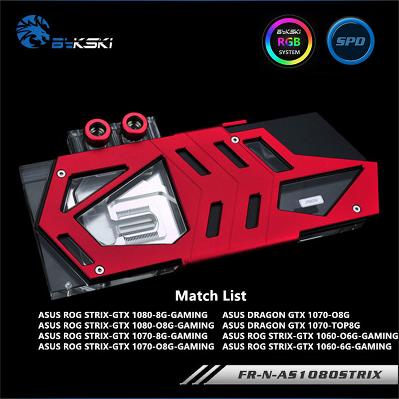 Bykski Full Coverage GPU Water Block For ASUS GTX1080TI 1080 1070 1060 Graphics Card FR-N-AS1080STRIX 2pcs lot gtx1080 gtx1070 gtx1060 gpu cooler fans video card fan for msi gtx 1080 1070 1060 gaming gpu graphics card cooling