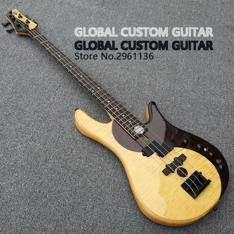 Haute Qualité Usine custom shop Papillon Basse, basse guitare Butteryfly Deluxe Électrique basse guitare yin et yang basse