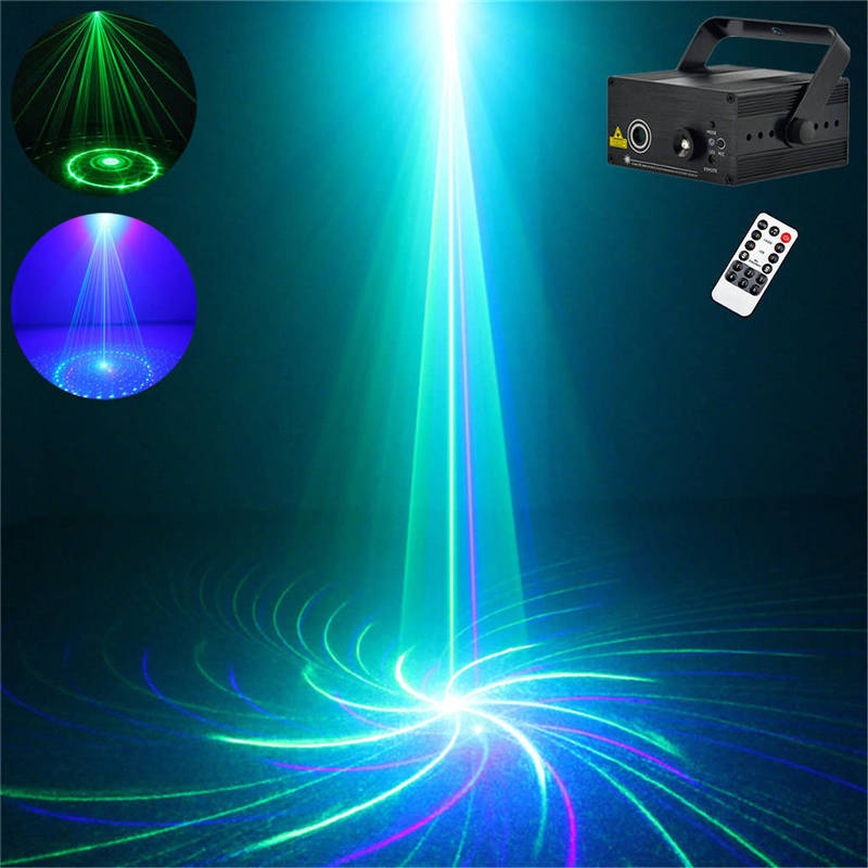 AUCD Mini 9 GB Green&Blue Pattern Laser Projector Lights 3W Blue LED Mixing Effect DJ Party Home Laser Show Stage Lighting Z09GB rg mini 3 lens 24 patterns led laser projector stage lighting effect 3w blue for dj disco party club laser