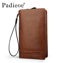 Padieoe Men's Genuine Leather Long Style Wallet Luxury Male Day Clutch Durable Double Zipper Phone Wallet Wristlet Cluth Wallets