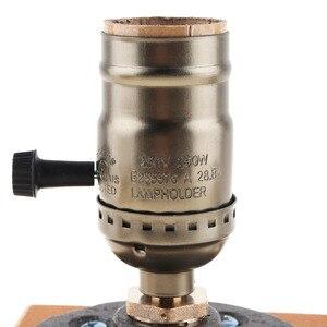 Image 4 - Lampada da tavolo retrò lampada da comodino a presa singola Base in legno lampadina Edison Vintage creativa con portalampada