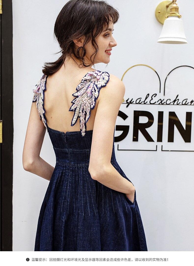 Femmes filles ailes broderie spaghetti sangle sexy robe d'été denim jeans fit et flare robes décontractées nouveau 2019 avec 2 poches
