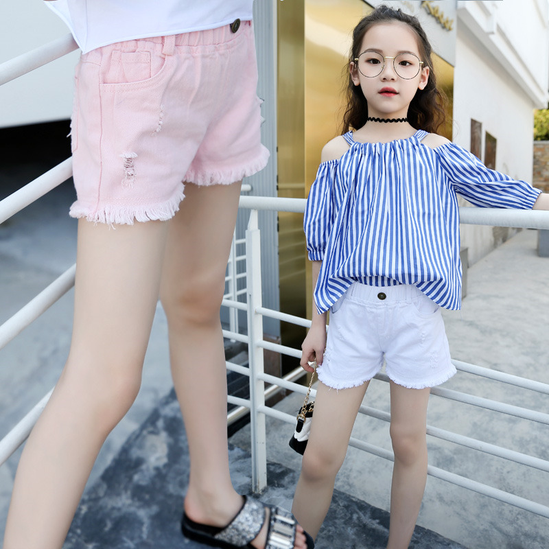 Baby Teenager Summer White Pink Denim   Shorts   For Girls High Quality Teens Girl   Short   Jeans 4 5 6 7 8 9 10 11 12 Years Old Kids