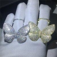 Роскошные полет бабочки кольцо 925 безукоризненные Серебрянные Серьги Установка AAAA фианит Обручение обручальное кольца для мужчин и женщин