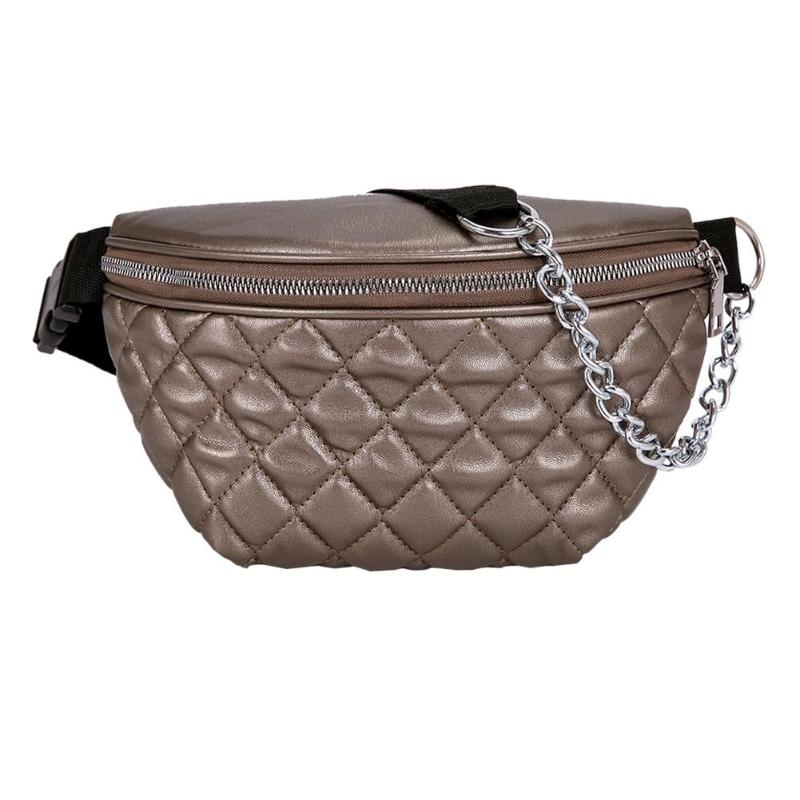 Fashion Pure Color Sport Women Girl Waist Fanny Packs Leather Lattice Chest Bags