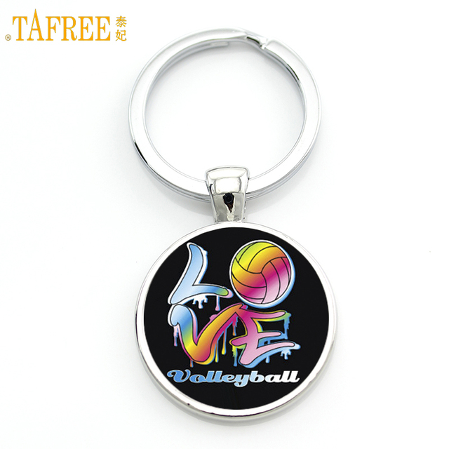 TAFREE Brand jewelry Love Volleyball keychain fashion colorful volleyball sports art picture glass cabochon key chain ring SP186