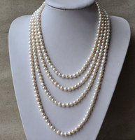 Charming Real Pearl Jewelry Long 90inches 7 8mm White Color Freshwater Pearl Necklace Wedding Party Jewelry