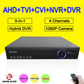 Blue-Ray Hisiclion Chip Metal Case DVR 4 Channel 4CH 25fps 1080P/1080N/960P/720P 5 in 1 Hybrid CVI TVi NVR AHD DVR Free shipping