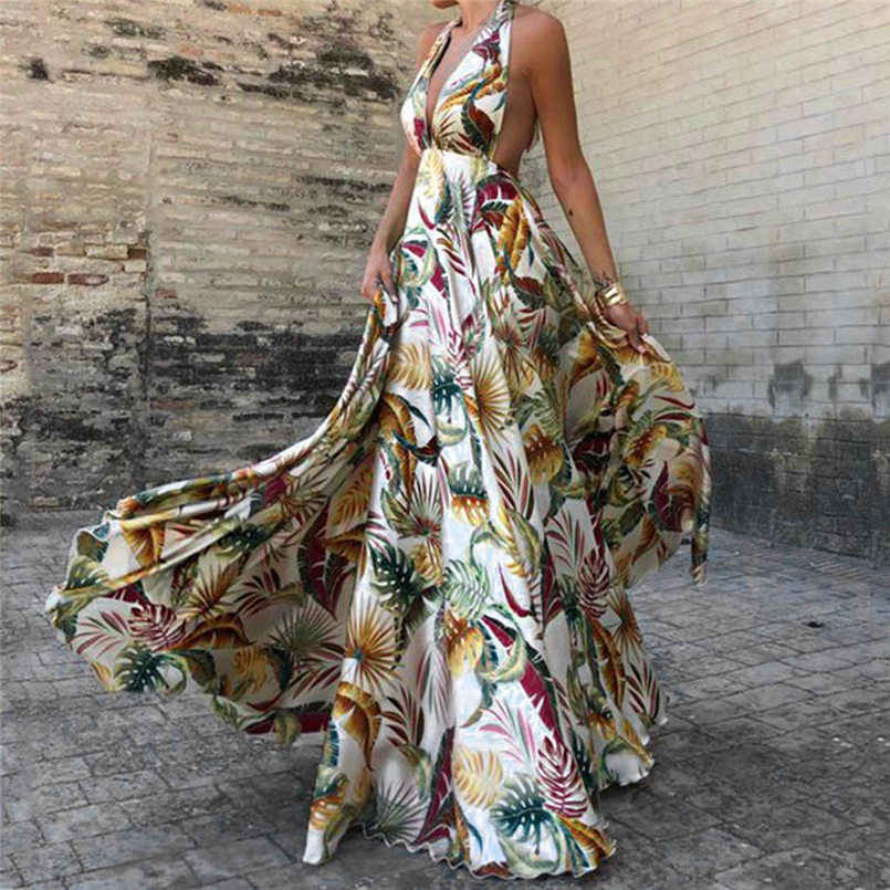 New Women Summer Sling Cross Holiday Evening Beach Slim Hollow Floral Print Long Dress Elegant Lady Vintage Party Dress #4R14