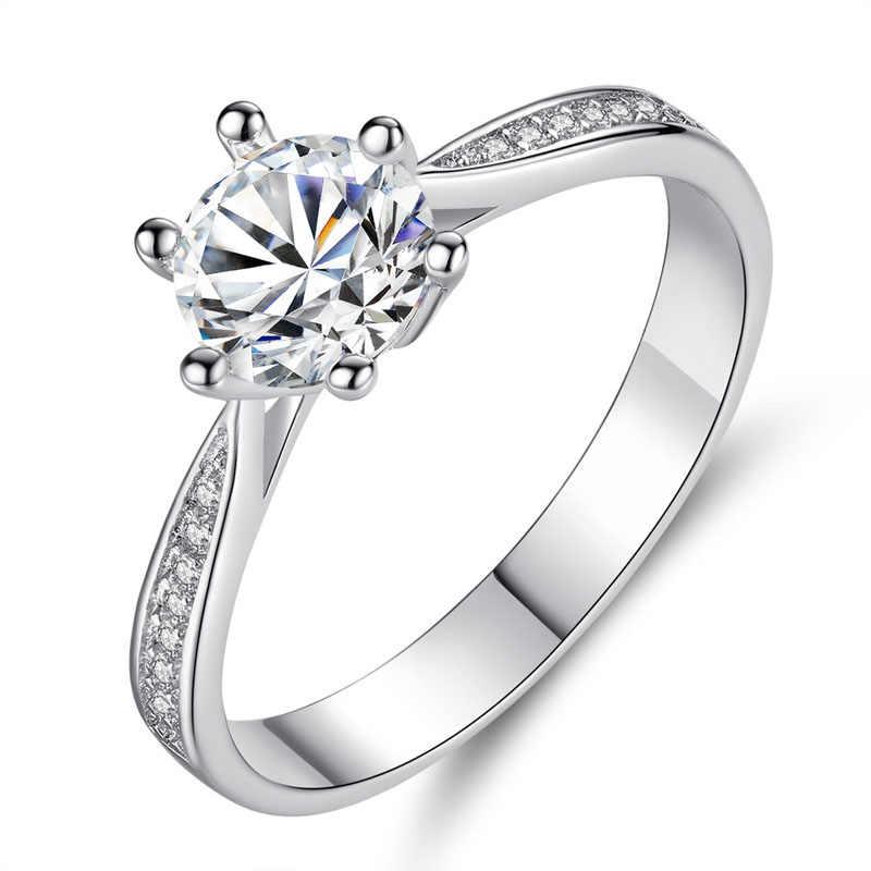 ธรรมดาสีขาวทองสีหกกรงเล็บ AAA + Cubic Zircon CZ แหวน 6-9 # party แหวนเด็กผู้หญิง Fashin Bague