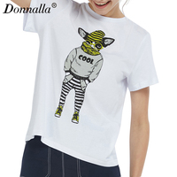 Donnalla Brand New Fashion Spring Summer Harajuku Short Sleeve T Shirt Women Tops Glasses Dog Printed
