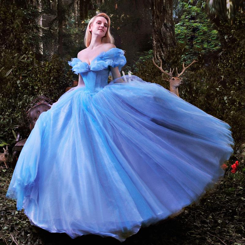 Original Princess Snow White Cinderella Dresses Costumes: Halloween Women Blue Cinderella Dress Princess Dress For
