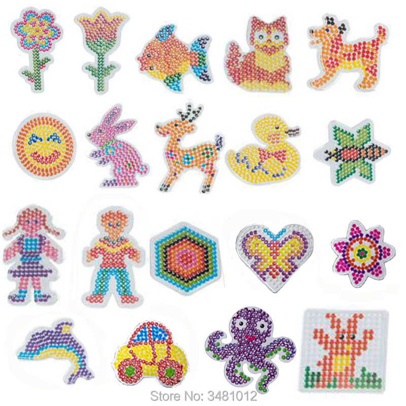 19pcs/pack EVA Pegboards Patterns Hama Beads 5mm DIY Jigsaw Tool Perler Beads Cartoon Animal Puzzles Board Kids Toys For Girls