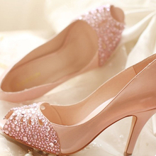 2015 Popular Spring Summer High Heel Sandals Peep Toe Rhinestone Wedding Bridal Dress Shoes Evening Party Prom Banquet Shoes